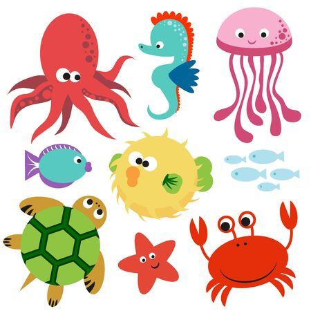 Illustration for Cute colorful set of undersea world vector animals. - Royalty Free Image