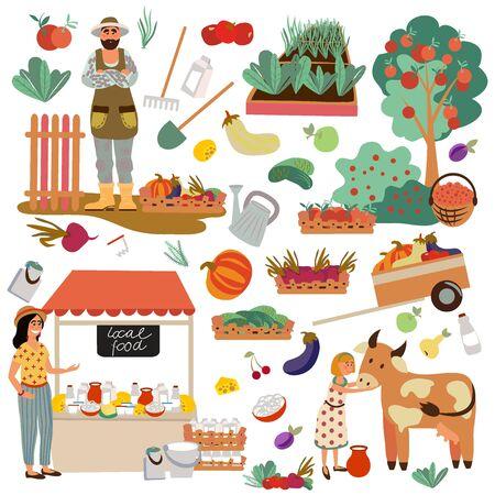 Illustration pour Set of multifunctional farm objects. Farm family. - image libre de droit