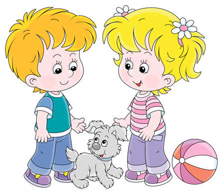 Illustration pour Smiling little children talking and walking together with a cheerful grey puppy, vector cartoon illustration on a white background - image libre de droit