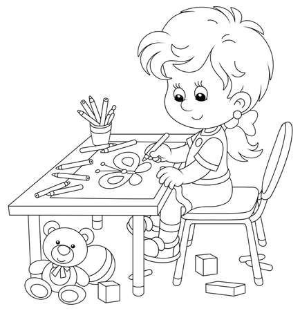 Illustration for Smiling little girl sitting at her table and drawing with pencils a funny picture of a small beautiful butterfly, black and white outline vector cartoon illustration for a coloring book page - Royalty Free Image