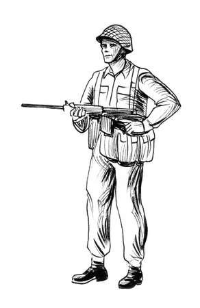 Photo pour Soldier with a rifle. Ink black and white - image libre de droit