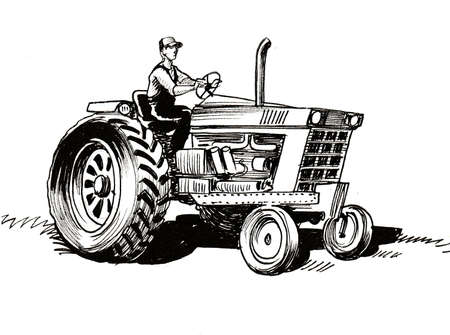 Photo pour Farmer on tractor. Ink black and white drawing - image libre de droit