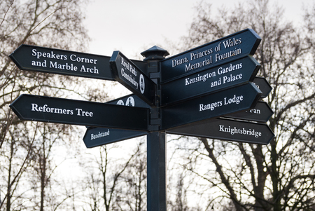 Crossroads sign in Hyde Park in London, England
