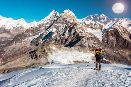 Mountain Climber ascending high Altitude Peak walking in Cosmic Terrain