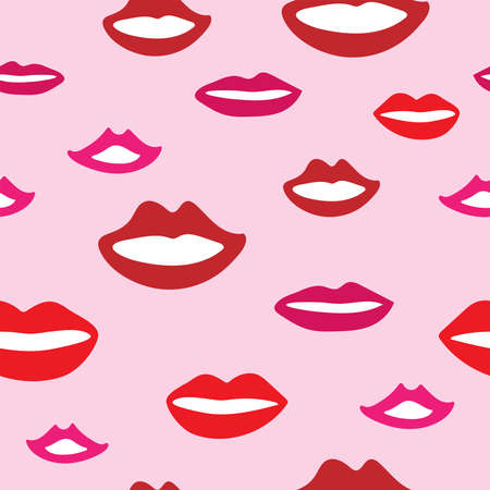 Illustration pour Seamless pattern with smiling female mouths. Girly print with lips drawn by hand. Cute vector illustration. - image libre de droit