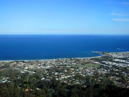 Photo pour Coastal Australian town, aerial view, Wollongong, NSW - image libre de droit