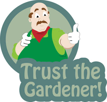 Vector illustration of a gardener  making thumb up sign and text trust the gardenerのイラスト素材