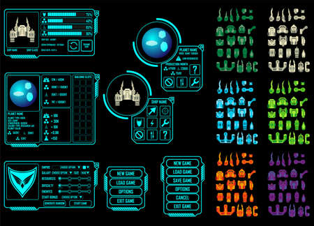 Vector elements for strategy space video game - you can create your own ship design