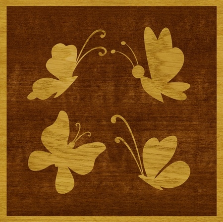 Marquetry, butterflies of ash wood veneer against the background of makore wood