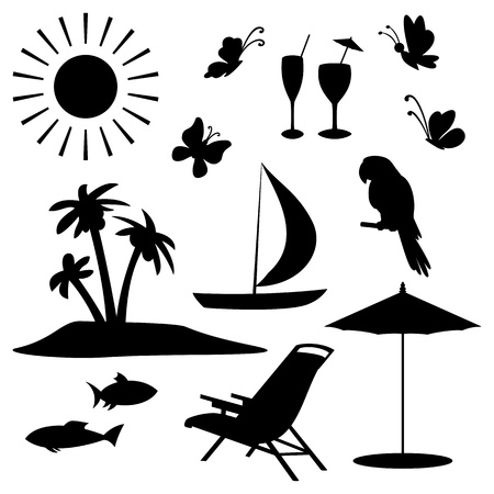 Set objects represent summer, exotic and a beach  Black contour on white background