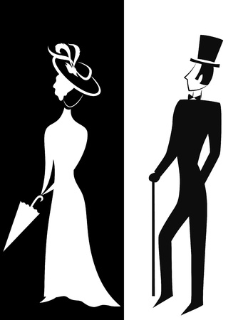 Gentleman and Lady, symbolic vintage style, black and white silhouette illustrationのイラスト素材
