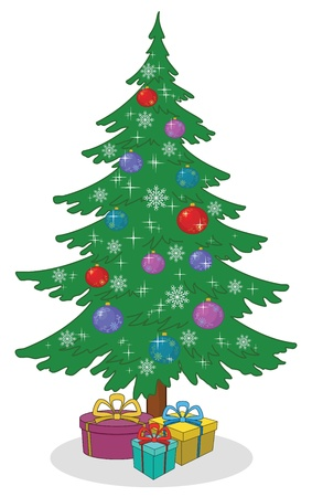 Illustration pour Holiday cartoon  Christmas tree with decoration and gift boxes  Vector - image libre de droit