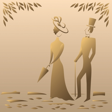 Lady and gentleman on a sentimental walk in the park, symbolic vintage style  Vector