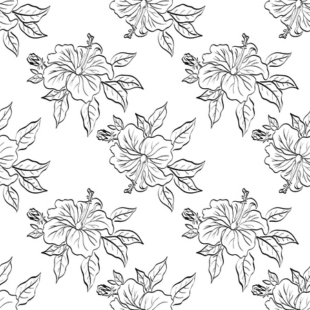Seamless floral background, hibiscus flowers and leaves