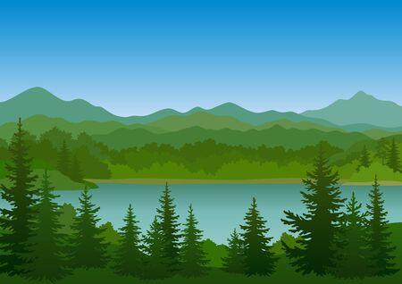 Illustration pour Summer Mountain Landscape with Green Fir Trees, Lake and Blue Sky. Vector - image libre de droit
