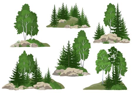 Illustration pour Set Landscapes, Isolated on White Background Coniferous and Deciduous Trees and Grass on the Rocks. Vector - image libre de droit