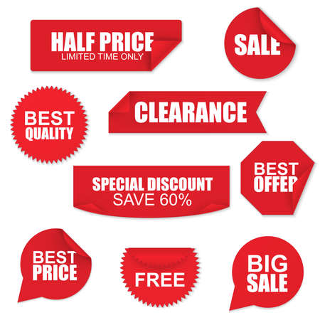 Set of red paper sale stickers on white background