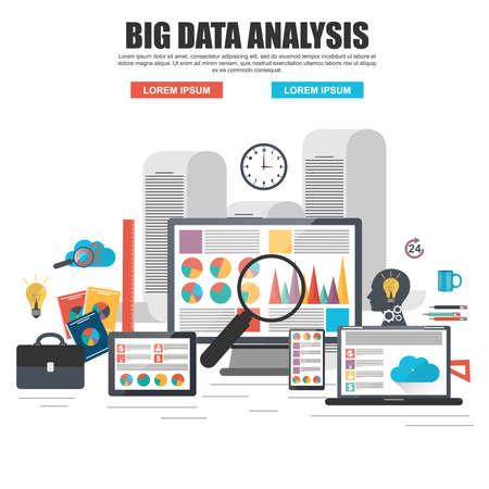 Flat design concept of business big data analysis