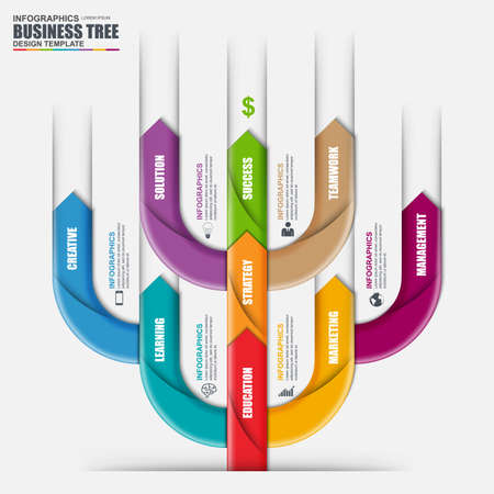 Infographic arrow tree vector design template. Can be used for workflow processes, banner, diagram, number options, timeline, work plan, web design.
