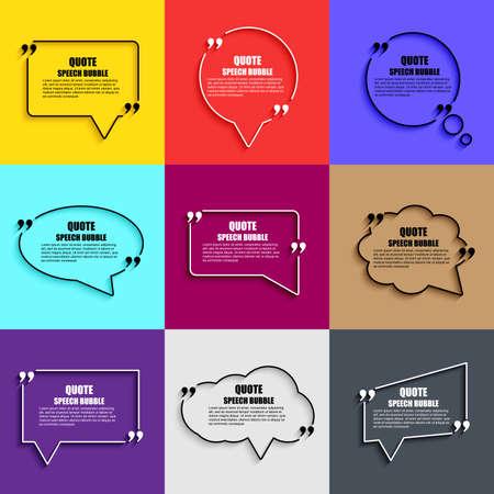 Illustration pour Quote speech bubble vector design template. Circle business card template, paper sheet, information, text. Print design.   Short quotes in quotation marks. - image libre de droit