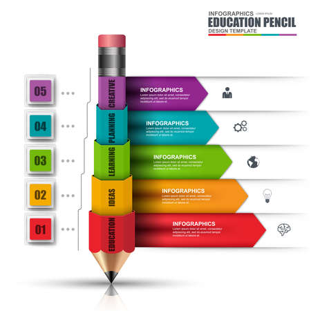 Illustration pour Abstract 3D education pencil Infographic. Can be used for workflow layout, data visualization, business concept with 5   options, parts, steps or processes, banner, diagram, chart, web design. - image libre de droit