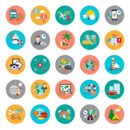 Illustration pour Flat conceptual icons set of tourism recreation, travel vacation to resort hotel. Flat vector icon. - image libre de droit