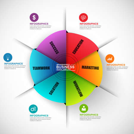 Illustration pour Infographic circle vector design template. Can be used for workflow, cycle diagram, statistic, circular, infographic banner, number options, design, infographic elements, set information infographics. - image libre de droit