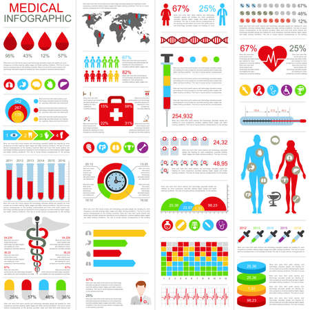 Set of medical infographic design template. Can be used for healthcare services, online support, health care insurance, disease prevention, parts, banner, cycle diagram, chart, web design.