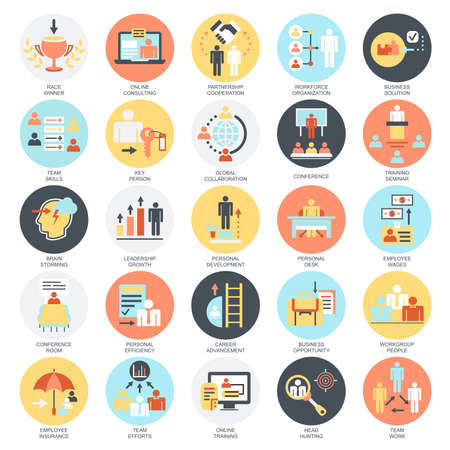 Illustration for Flat conceptual icons set of corporate development, business leadership training and corporate career. Concepts for website and graphic design. Mobile and print media. Isolated on white background. - Royalty Free Image