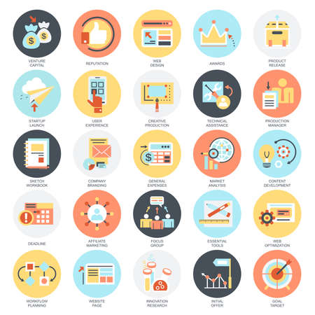 Ilustración de Flat conceptual icons set of business startup, market vision, development and mission. Concepts for website and graphic design. Mobile and print media. Isolated on white background. - Imagen libre de derechos