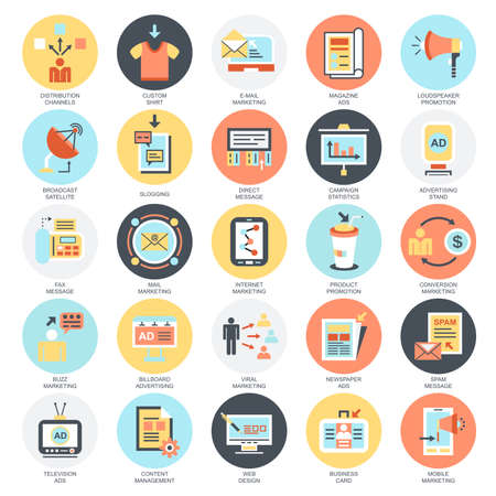 Ilustración de Flat conceptual icons set of advertising media channels and ads distribution, digital marketing. Concepts for website and graphic design. Mobile and print media. Isolated on white background. - Imagen libre de derechos