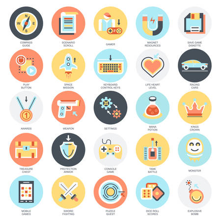 Ilustración de Flat conceptual icons set of game objects, mobile gaming elements. Concepts for website and graphic design. Mobile and print media. Isolated on white background. - Imagen libre de derechos