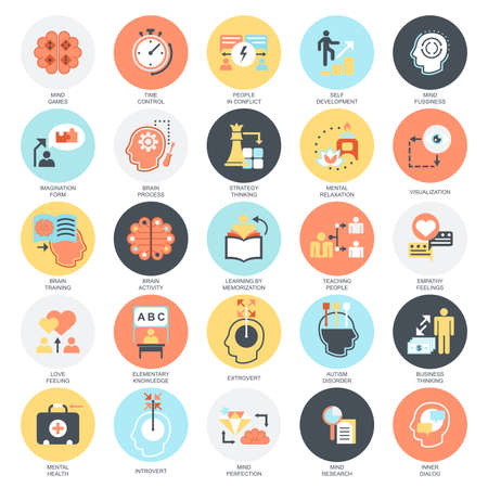 Ilustración de Flat conceptual icons set of human mind process, brain features and emotions. Concepts for website and graphic design. Mobile and print media. Isolated on white background. - Imagen libre de derechos
