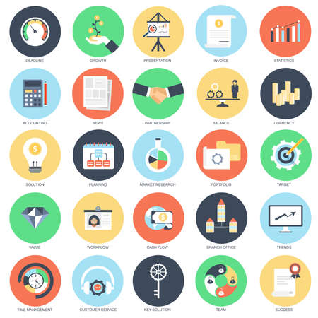 Illustration for Flat conceptual icon set of economics, business workflow and finance growth. Pack flat icons concept for website and graphic designers. Mobile and print media. - Royalty Free Image