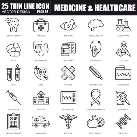 Vektor für Thin line healthcare and medicine, hospital services, lab analyzes icons set for website and mobile site and apps. Pixel Perfect. Editable Stroke. Simple linear pictogram pack. Vector illustration. - Lizenzfreies Bild