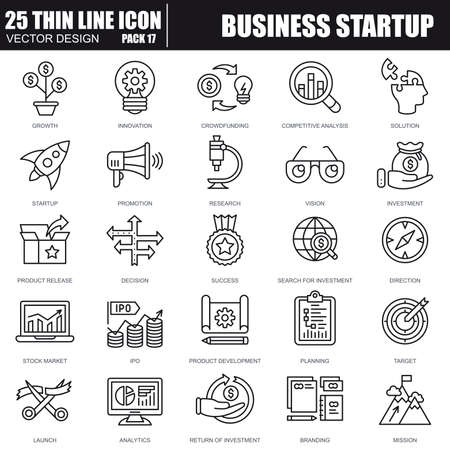Illustration pour Thin line business startup icons set for website and mobile site and apps. Pixel Perfect. Editable Stroke. Simple linear pictogram pack. Vector illustration. - image libre de droit