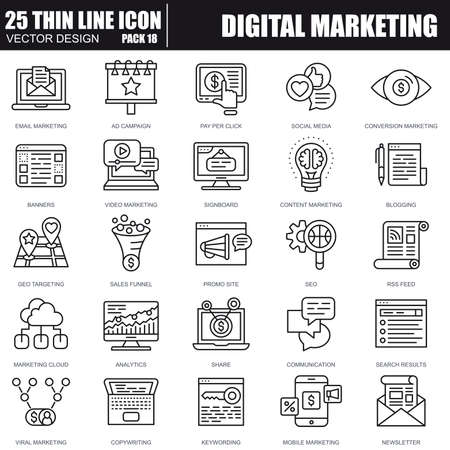 Vektor für Thin line digital marketing icons set for website and mobile site and apps. Pixel Perfect. Editable Stroke. Simple linear pictogram pack. Vector illustration. - Lizenzfreies Bild