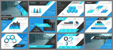 Illustration pour Blue presentation slides templates from info graphic elements - image libre de droit