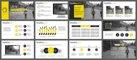 Ilustración de Business presentation slides templates from infographic elements. Can be used for presentation, flyer and leaflet, brochure, corporate report, marketing, advertising, annual report, banner, booklet. - Imagen libre de derechos