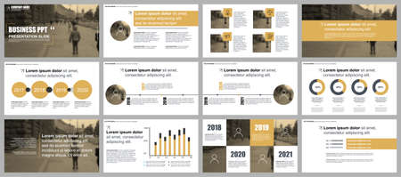 Ilustración de Gold business presentation slides templates from infographic elements. Can be used for presentation, flyer and leaflet, brochure, marketing, advertising, annual report, banner, booklet. - Imagen libre de derechos