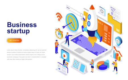 Illustration pour Business startup modern flat design isometric concept. Launch work and people concept. Landing page template. Conceptual isometric vector illustration for web and graphic design. - image libre de droit