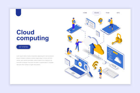 Illustration for Cloud computing modern flat design isometric concept. Business technology and people concept. Landing page template. Conceptual isometric vector illustration for web and graphic design. - Royalty Free Image