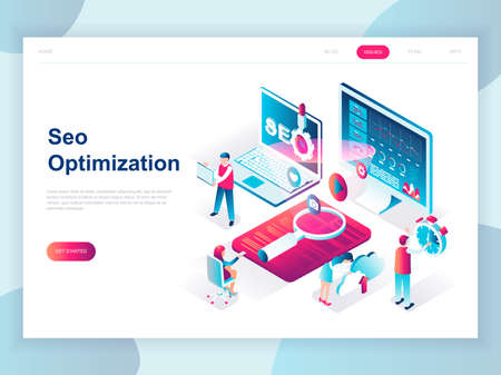 Ilustración de Modern flat design isometric concept of SEO Analysis for banner and website. Isometric landing page template. Search engine optimization, strategies and marketing. Vector illustration. - Imagen libre de derechos