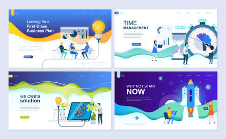 Illustration for Set of landing page template for business solutions, startup, time management, planning. Modern vector illustration flat concepts decorated people character for website and mobile website development. - Royalty Free Image