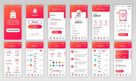 Illustration pour Set of UI, UX, GUI screens Shopping app flat design template for mobile apps, responsive website wireframes. - image libre de droit