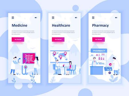 Illustration pour Set of onboarding screens user interface kit for Medicine, Healthcare, Pharmacy, mobile app templates concept. - image libre de droit