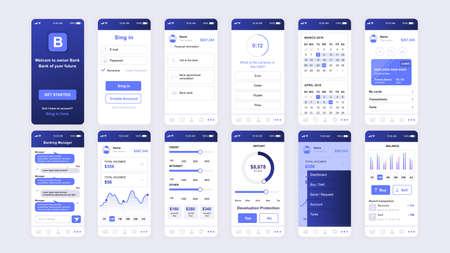 Illustration pour Set of UI, UX, GUI screens Banking app flat design template for mobile apps, responsive website wireframes. - image libre de droit