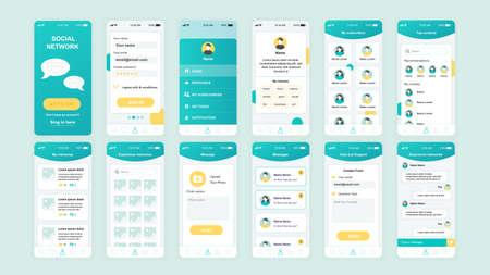 Illustration pour Set of UI, UX, GUI screens Social Network app flat design template for mobile apps, responsive website wireframes. - image libre de droit