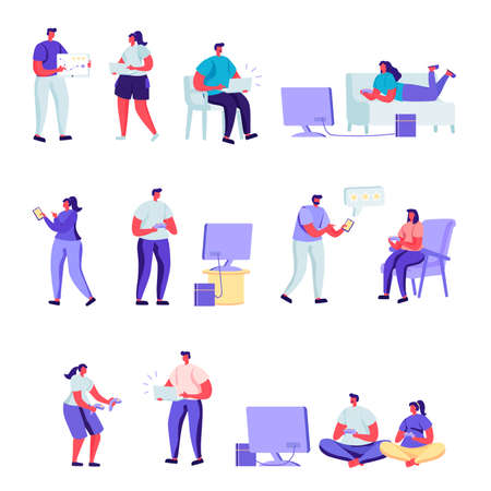 Illustration pour Set of flat people gamers characters. Bundle cartoon people players playing with various devices and poses on white background. Vector illustration in flat modern style. - image libre de droit