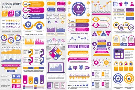 Illustration pour Bundle infographic elements data visualization vector design template. Can be used for steps, business processes, workflow, diagram, flowchart concept, timeline, marketing icons, info graphics. - image libre de droit